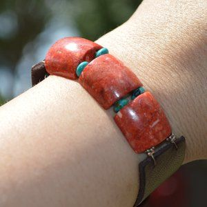Jewelry - Faux Coral and Turquoise Leather Strap Bracelet